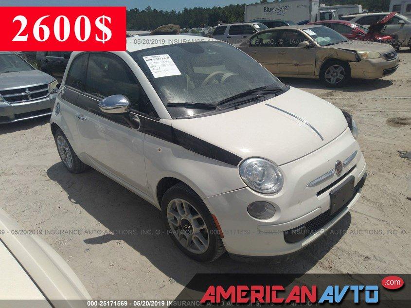 Купить белую бу FIAT 500 1.4 2015 года в США